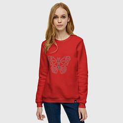 Свитшот хлопковый женский Полигональная бабочка цвета красный — фото 2