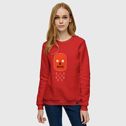 Свитшот хлопковый женский Кнопка психодел цвета красный — фото 2