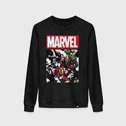 Свитшот хлопковый женский Avengers: Marvel Heroes цвета черный — фото 1