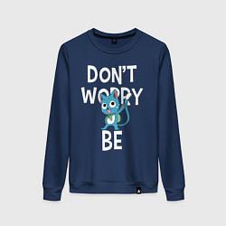 Свитшот хлопковый женский Dont Worry be Fairy Tail цвета тёмно-синий — фото 1