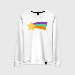 Свитшот хлопковый женский Радужный свитер Мэйбл цвета белый — фото 1