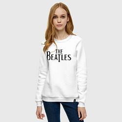 Свитшот хлопковый женский The Beatles цвета белый — фото 2
