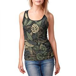 Майка-безрукавка женская Тропический камуфляж цвета 3D-черный — фото 2