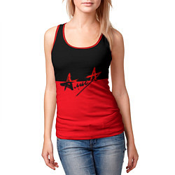 Майка-безрукавка женская АлисА: Черный & Красный цвета 3D-красный — фото 2