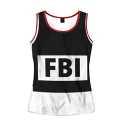Майка-безрукавка женская Бронежилет FBI цвета 3D-красный — фото 1