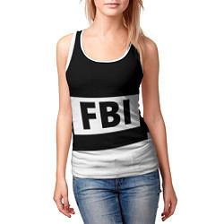 Майка-безрукавка женская Бронежилет FBI цвета 3D-белый — фото 2