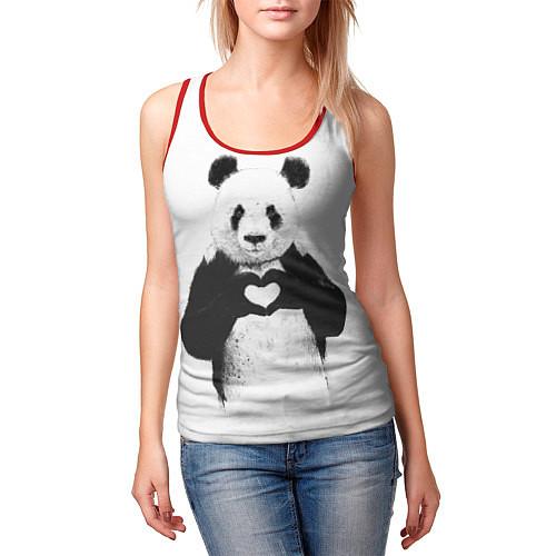 Женская майка без рукавов Panda Love / 3D-Красный – фото 3