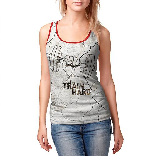 Женская майка без рукавов Train hard / 3D-Красный – фото 3