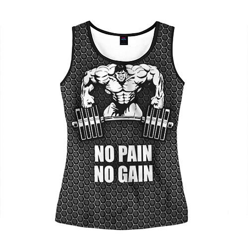 Женская майка без рукавов No pain, no gain / 3D-Черный – фото 1