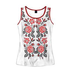 Майка-безрукавка женская Вышивка 28 цвета 3D-красный — фото 1