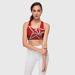 Топик спортивный женский Флаг СССР: Серп и Молот цвета 3D — фото 2