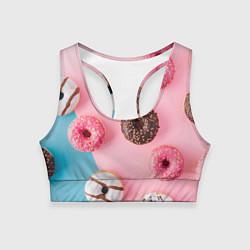 Топик спортивный женский Сладкие пончики цвета 3D-принт — фото 1