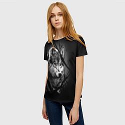 Женская 3D-футболка с принтом Серый волк, цвет: 3D, артикул: 10112480003229 — фото 2