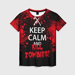Футболка женская Keep Calm & Kill Zombies цвета 3D — фото 1