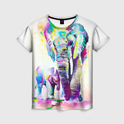 Футболка женская Акварельные слоны цвета 3D — фото 1