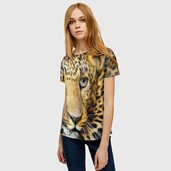 Футболка женская Улыбка леопарда цвета 3D — фото 2