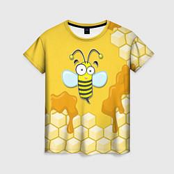 Футболка женская Веселая пчелка цвета 3D-принт — фото 1