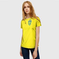 Футболка женская Сборная Швеции: Домашняя ЧМ-2018 цвета 3D-принт — фото 2