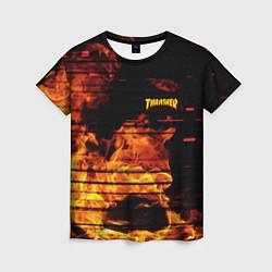 Футболка женская Thrasher: Fire Glitch цвета 3D — фото 1