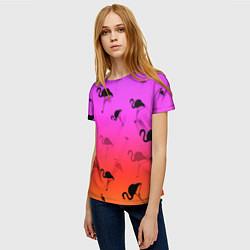 Футболка женская Фламинго цвета 3D — фото 2