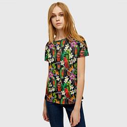 Женская 3D-футболка с принтом Попугаи в цветах, цвет: 3D, артикул: 10065276503229 — фото 2