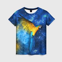 Женская 3D-футболка с принтом Космический попугай, цвет: 3D, артикул: 10065277403229 — фото 1