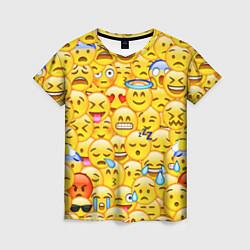 Футболка женская Emoji цвета 3D-принт — фото 1