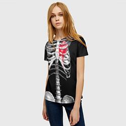 Футболка женская Скелет с сердцем цвета 3D — фото 2