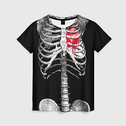 Футболка женская Скелет с сердцем цвета 3D-принт — фото 1
