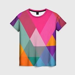 Футболка женская Разноцветные полигоны цвета 3D — фото 1