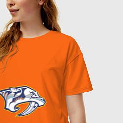 Футболка оверсайз женская Nashville Predators цвета оранжевый — фото 2