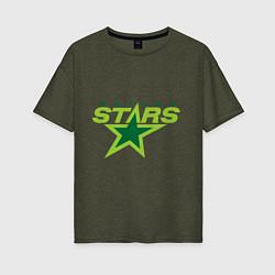 Футболка оверсайз женская Dallas Stars цвета меланж-хаки — фото 1