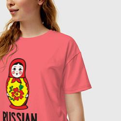 Футболка оверсайз женская Russian Barbie цвета коралловый — фото 2