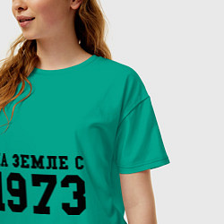 Футболка оверсайз женская На Земле с 1973 цвета зеленый — фото 2