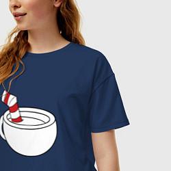 Футболка оверсайз женская Red Cuphead цвета тёмно-синий — фото 2