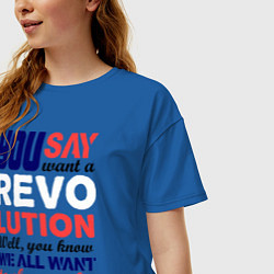 Футболка оверсайз женская The Beatles Revolution цвета синий — фото 2