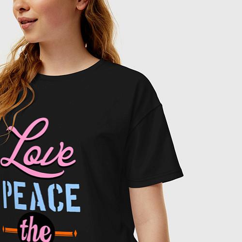 Женская футболка оверсайз Love peace the Beatles / Черный – фото 3