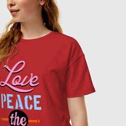 Футболка оверсайз женская Love peace the Beatles цвета красный — фото 2