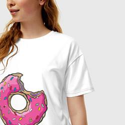 Футболка оверсайз женская Пончик Гомера цвета белый — фото 2