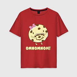 Футболка оверсайз женская Cake: Omnomnom! цвета красный — фото 1