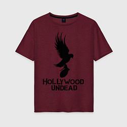 Футболка оверсайз женская Hollywood Undead цвета меланж-бордовый — фото 1