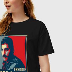 Футболка оверсайз женская Freddie Mercury цвета черный — фото 2