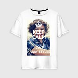 Футболка оверсайз женская Keep Calm & Love Harry Styles цвета белый — фото 1
