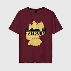 Футболка оверсайз женская Гамбург - Германия цвета меланж-бордовый — фото 1