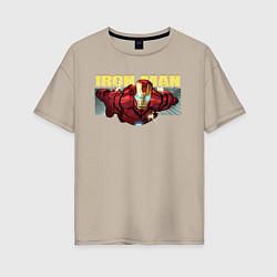 Футболка оверсайз женская Iron Man: Mark IV цвета миндальный — фото 1