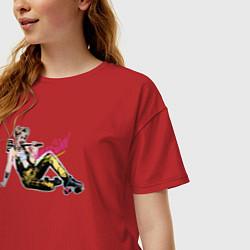 Футболка оверсайз женская Harley Quinn цвета красный — фото 2
