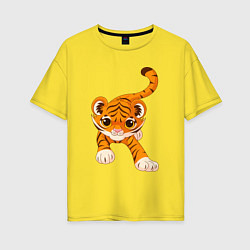 Футболка оверсайз женская Милый Тигренок цвета желтый — фото 1