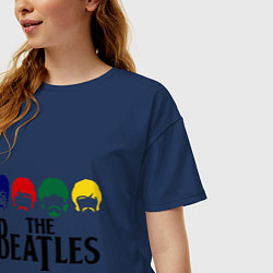 Футболка оверсайз женская The Beatles Heads цвета тёмно-синий — фото 2