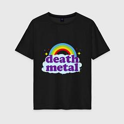 Футболка оверсайз женская Death Metal: Rainbow цвета черный — фото 1
