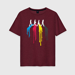 Футболка оверсайз женская Abbey Road Colors цвета меланж-бордовый — фото 1